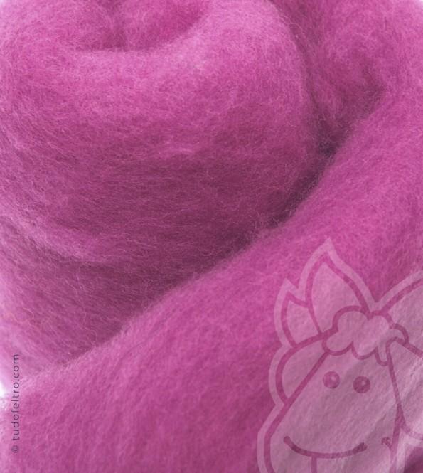 New Zealand Carded Merino Wool (batts) - FUCHSIA
