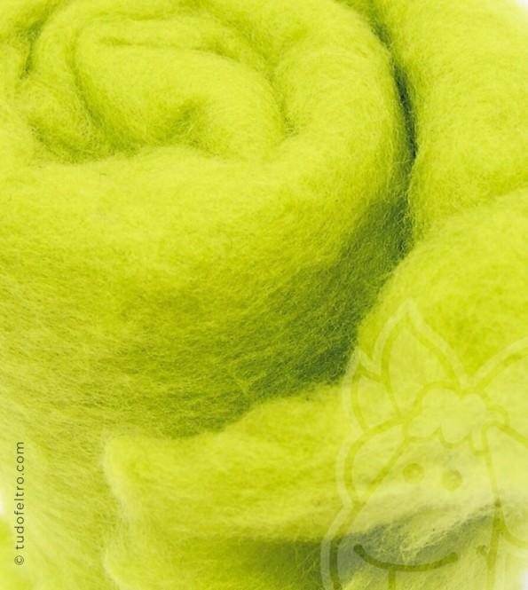 New Zealand Carded Merino Wool (batts) - NEON LEMON GREEN