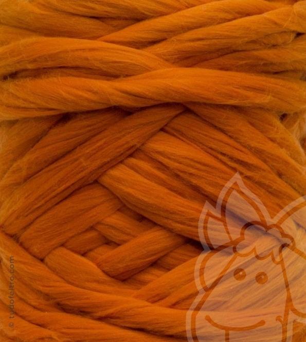 European Merino Wool Tops (combed sliver) - PUMPKIN