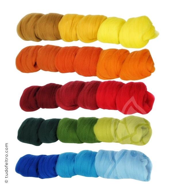 WOOL PACK - 15 COLORS (Tops Sliver) | 300 g