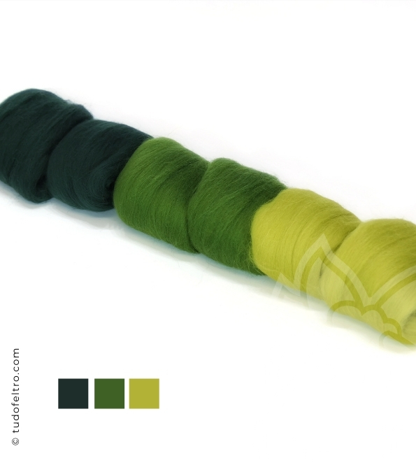 Greens Mix - Wool Packs (Tops Sliver)